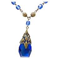 Czech Cobalt Blue Glass and Filigree Brass Necklace