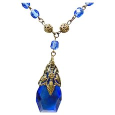Czech Cobalt Blue Glass and Filigree Brass Necklace