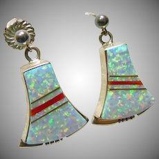 Sterling Silver Bell Shape Earrings with Opal and Coral Inlay