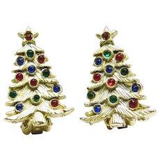 Christmas Tree Clip Earrings