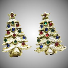 Christmas Tree Clip Earrings