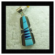 Sterling Silver Pendant with Inlay of Lapis and Turquoise