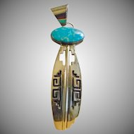 Sterling Silver and Turquoise Native American Pendant