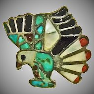 Southwestern Sterling Silver Eagle Ring Decorated with Inlay