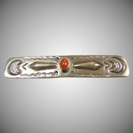 Southwestern Sterling Silver Bar Pin with Coral