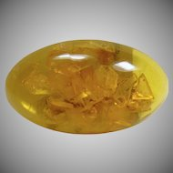 Oval Amber Cabochon with Pin Mounted on the Back