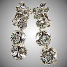 Shoulder Duster Rhinestone Clip Earrings