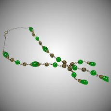 Faux Jade Glass Bead and Brass Filigree Necklace