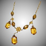 1930s Brass and Citrine Color Glass Necklace with Etruscan Style Decoration