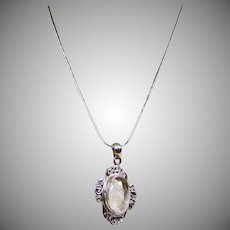 Sterling Silver Rutile Quartz Pendant on Sterling Snake Chain