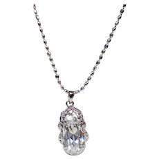 Crystal Pendant on a Sterling Silver Beaded Chain