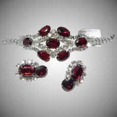 Brilliant Red and Clear White Rhinestone Bracelet and Earrings