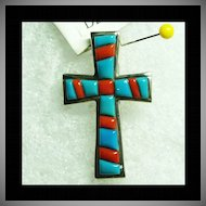 Sterling Silver Cross Pendant with Cobble Stone Inlay of Turquoise and Red Coral