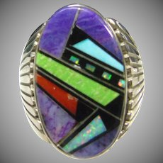 Southwestern Sterling Silver Ring with Stone  Inlay