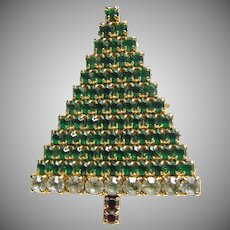 Green Rhinestone Christmas Tree Pin