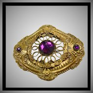 Victorian Stamped Brass Sash Pin with Purple Glass Stone