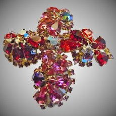 Maltese Cross  Brooch in Shades of Pink and Red