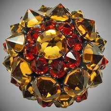 Cognac and Bright Orange Rhinestone Dome Shape Brooch
