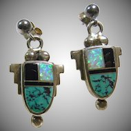 Sterling Silver Earrings with Stone On  Metal Inlay