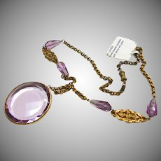 Round Lavender Glass Pendant on Gold Over Brass Necklace