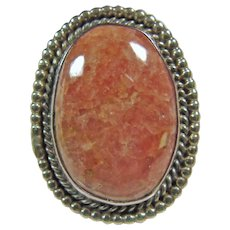 Southwestern Sterling Silver Rhodochrosite Ring - Red Tag Sale Item