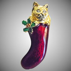 Cat in a Christmas Stocking Brooch