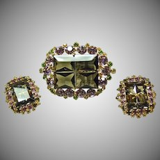Stunning Set of Dark Smoke Stones Surrounded by Lavender, Green and Yellow Rhinestones
