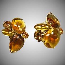 Amber and Cognac Rhinestone Clip Earrings