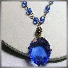 1920s-1930s Brass Filigree Necklace with Cobalt Blue Glass Pendant and Beads
