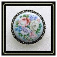 Victorian Enamel on Metal Floral Brooch