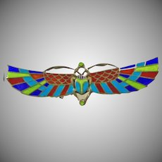 Egyptian Revival Silver and Enamel Scarab Pin