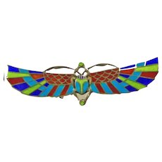 Super!!!!  Egyptian Revival Silver and Enamel Scarab Pin