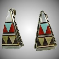 Sterling Silver Earrings Decorated with Multiple Stone Inlay