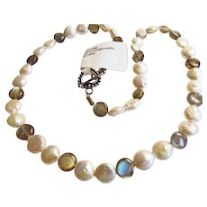 Coin Pearls and Labradorite.Necklace