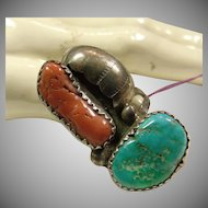 Southwestern Coral and Turquoise Sterling Silver Ring