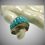Sterling Silver Dome Shape Ring with Turquoise Corn Row