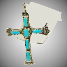 Southwestern Sterling Silver and Turquoise Pendant Cross