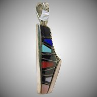 Unusual Sterling Silver Pendant Decorated in Stone on Metal Inlay and Cobblestone Inlay