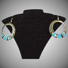 Sterling Silver Hoop Earrings with Opal Inserts