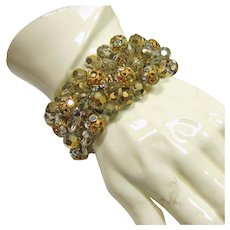 Stretch Bracelet covered in Grey Crystals, Grey Crystal with Gold, Crystal Covered in Rhinestones and Gold Filigree