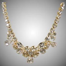 Eisenberg Ice Clear Rhinestone in Gold Tone Metal Necklace
