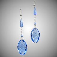 1930s Blue Press Glass Earrings