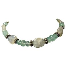 Moonstone and Chalcedony Sterling Necklace