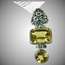 Lemon Quartz and Citrine Pendant in Sterling Silver