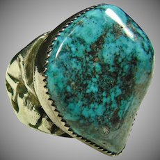 Native American Sterling Silver Ring with Sonora Blue Turquoise