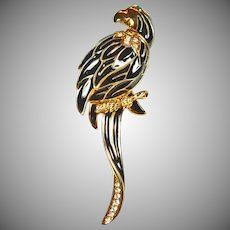 SAL Black Enamel Parrot Brooch Sitting on a Branch