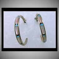 Graduated 3/4 Hoop Earrings in Sterling with MOP Inlay