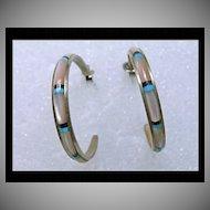 Graduated 3/4 Hoop Earrings in Sterling with MOP Inlay