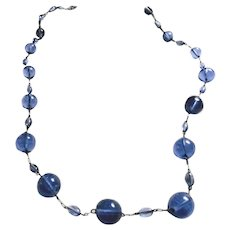 Necklace Blue Glass Beads on a Brass Chain