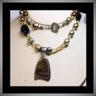 Navajo Sterling Silver Pietersite Pendant on Necklace of Pietersite, Citrine & Pearls